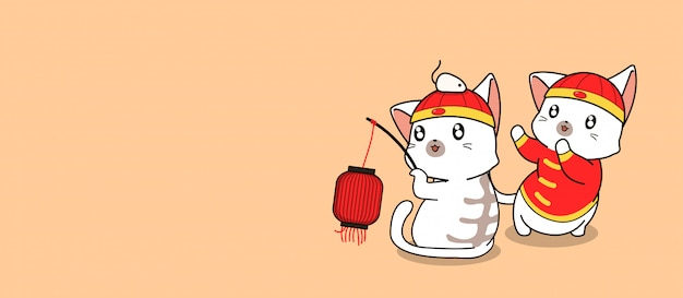 Banner  kawaii cats in chinese new year