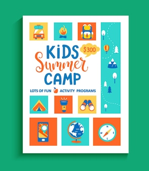 Banner for the kids summer camp, concept with handdrawn lettering