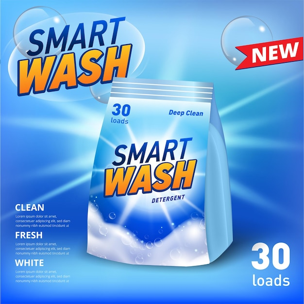 Banner for laundry detergent in soft package container with realistic soap foam and soap bubbles sun flare light