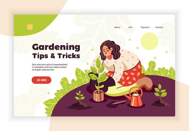 Banner di trucchi e suggerimenti per il giardinaggio online con donne che piantano piantine nel terreno