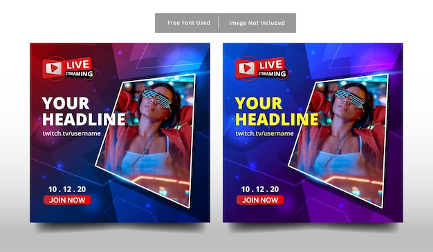 Banner live streaming template design.