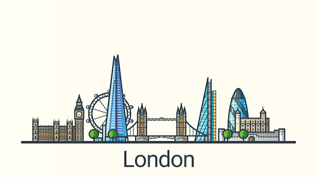 Banner of london city in flat line trendy style. line art.