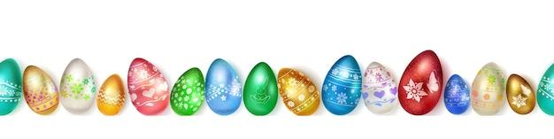 Баннер из реалистичных пасхальных яиц разных цветов с красочным декором на белом