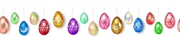 Баннер из реалистичных подвесных пасхальных яиц разных цветов с красочным декором на белом