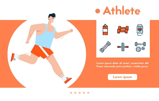 Banner of man athlete in sports uniform jogging, healthy lifestyle, cardio exercises, loss body weight.  color linear icon set - punching bag, dumbbells