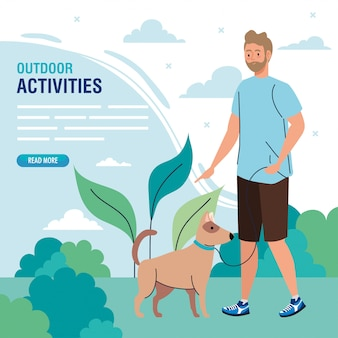 Banner, man performing leisure outdoor activities, man on a walk with a dog illustration design
