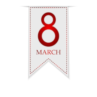 Banner for march 8, international women's day. greeting ribbon for march 8