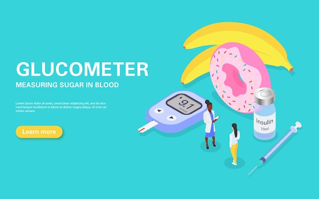Banner for measuring blood sugar with a glucometer. diabetes treatment and diet.