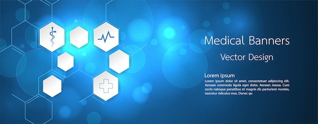 Banner medical dna and technology background