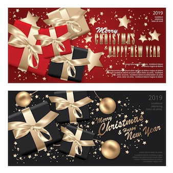 Banner merry christmas & happy new year banner template