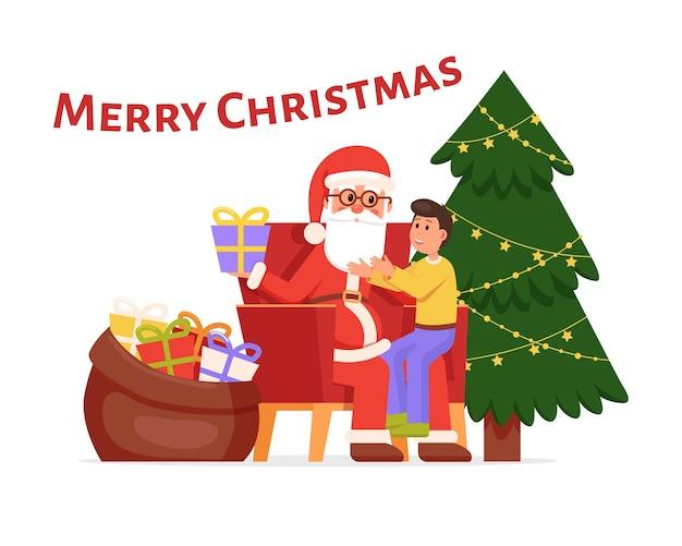 Баннер с рождеством христовым с санта