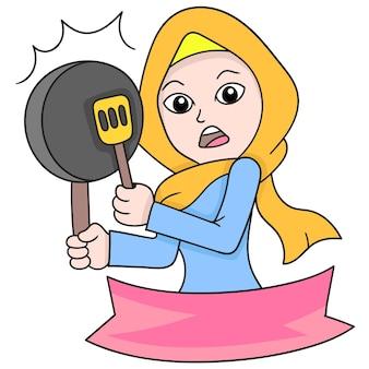 요리, 벡터 일러스트레이션 예술을 위해 프라이팬과 주걱을 들고 있는 아름다운 이슬람 히잡 여성의 배너. 낙서 아이콘 이미지 귀엽다.