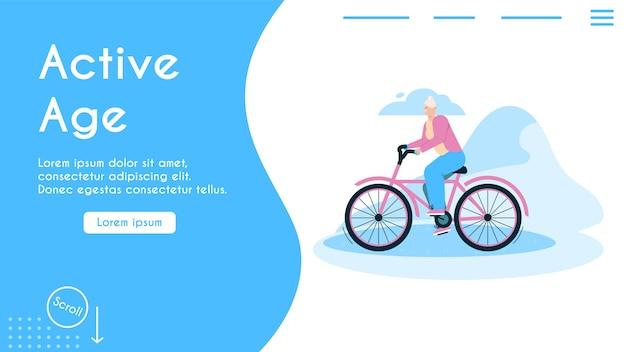 활동적인 나이 개념의 배너. 할머니 승마 자전거 야외.