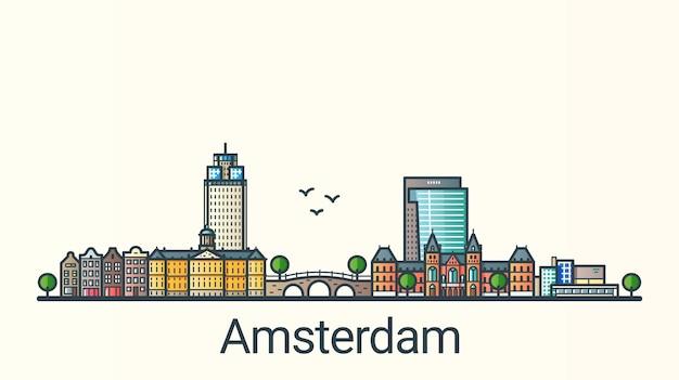 フラットラインのトレンディなスタイルのアムステルダム市のバナー。アムステルダムの都市線画。すべての建物が分離され、カスタマイズ可能です。