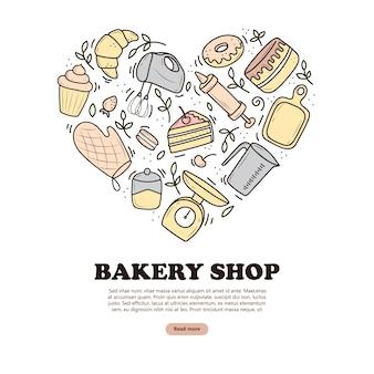 ハート、ミキサー、ケーキ、スプーン、カップケーキ、うろこの形のベーキングおよび調理器具のバナー。落書きスタイルのベクトルイラスト。白い背景に手描きで描かれたスケッチ。