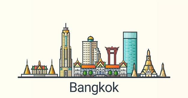 フラットラインのトレンディなスタイルのバンコク市のバナー。すべての建物が分離され、カスタマイズ可能です。線画。