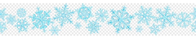 透明な背景に分離された水色の大きな複雑な半透明のクリスマス雪片のバナー。シームレスな水平方向の繰り返し。ベクトル形式のみの透明度
