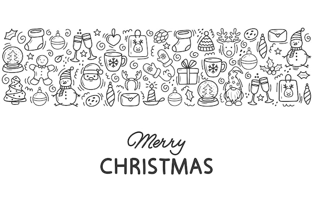 크리스마스 낙서 손으로 그린 귀여운 그림의 배너