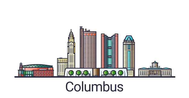 Баннер города колумба в модном стиле плоской линии. искусство линии города колумбуса. все здания разделены и настраиваются.