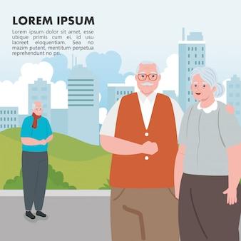 공원 일러스트 디자인에 귀여운 노인 야외, 늙은 여자와 노인의 배너