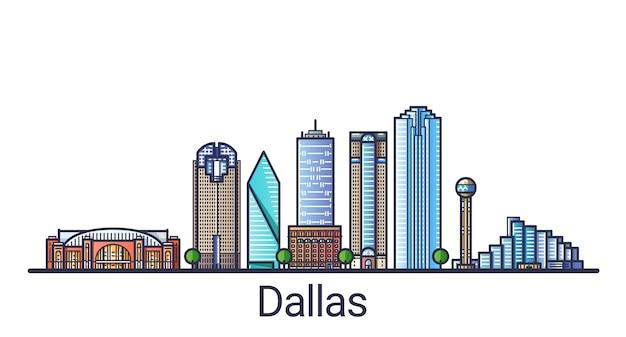 Баннер города даллас в модном стиле плоской линии. штриховая графика города даллас. все здания разделены и настраиваются.