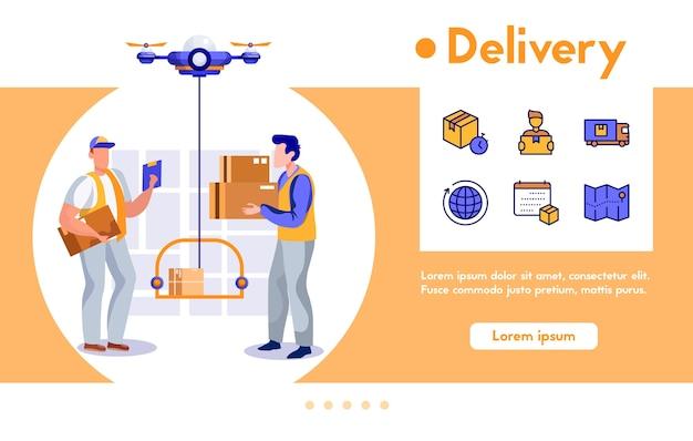 配達人のバナーは、ドローンに段ボールの小包を出荷します。 quadcopterはパッケージを顧客に運びます。色の線形アイコン-場所の追跡、物流後、輸送