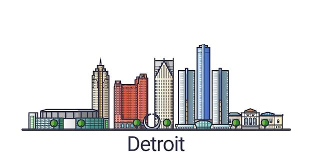 Баннер города детройт в модном стиле плоской линии. штриховая графика города детройт. все здания разделены и настраиваются.