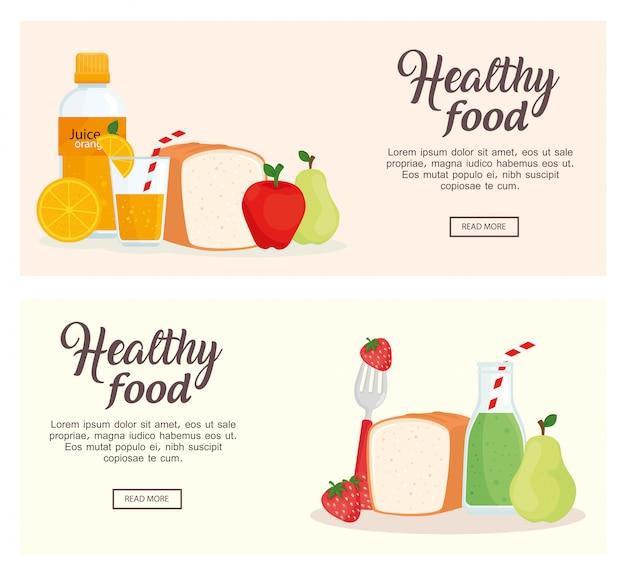 果物や健康食品のバナーベクトルイラストデザイン