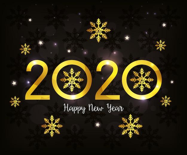 Баннер с новым годом 2020 со снежинками
