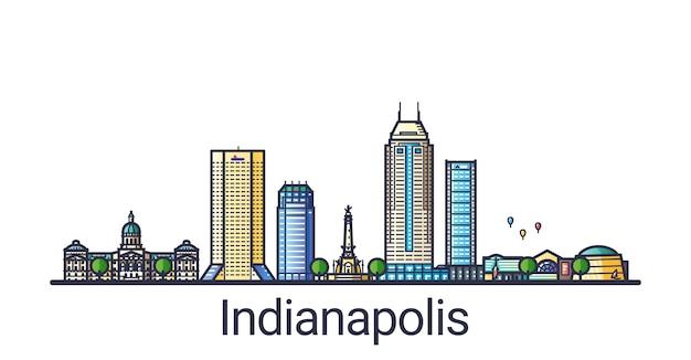 フラットラインのトレンディなスタイルのインディアナポリス市のバナー。インディアナポリスの都市線画。すべての建物が分離され、カスタマイズ可能です。