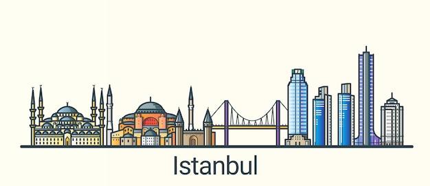 Баннер города стамбул в модном стиле плоской линии. все здания разделены и настраиваются. штриховая графика.