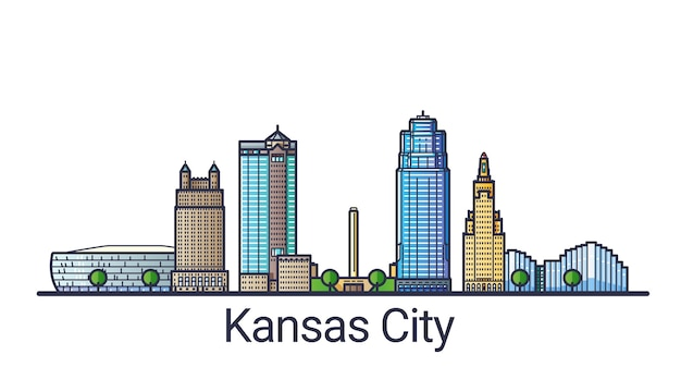 플랫 라인 유행 스타일에 캔자스 시티의 배너. 캔자스 시티 라인 아트. 모든 건물은 분리되고 사용자 정의 할 수 있습니다.