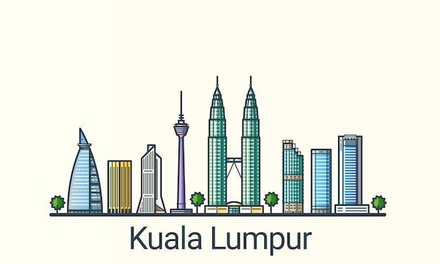 Баннер куала-лумпура в модном стиле плоской линии. все здания разделены и настраиваются. штриховая графика.