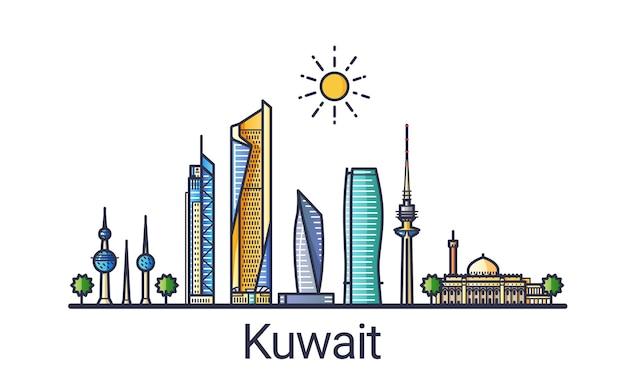 Баннер горизонта города кувейта в модном стиле плоской линии. искусство линии города кувейта. все здания разделены и настраиваются.