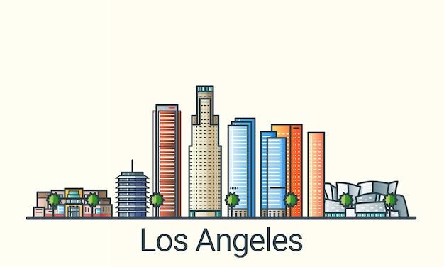 フラットラインのトレンディなスタイルのロサンゼルス市のバナー。ロサンゼルス市の線画。すべての建物が分離され、カスタマイズ可能です。