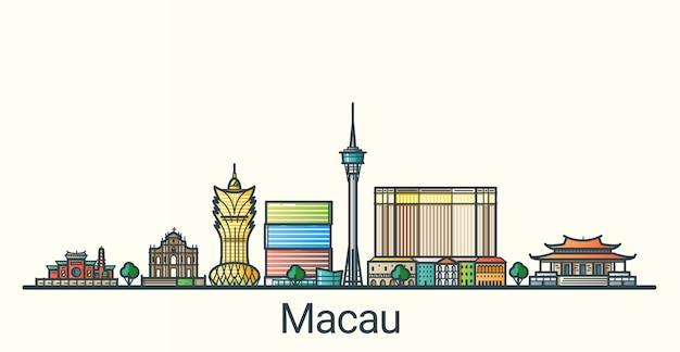 フラットラインのトレンディなスタイルのマカオ市のバナー。すべての建物が分離され、カスタマイズ可能です。線画。