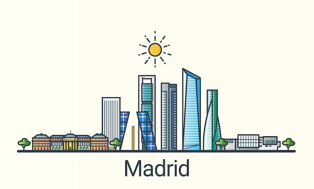 フラットラインのトレンディなスタイルのマドリード市のバナー。マドリッドの都市線画。すべての建物が分離され、カスタマイズ可能です。