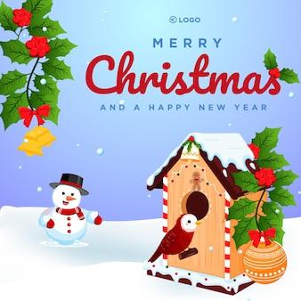 Баннер с рождеством и новым годом шаблон дизайна