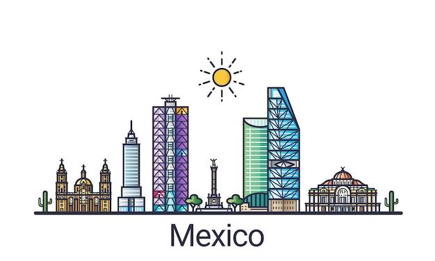 フラットライントレンディなスタイルのメキシコシティのスカイラインのバナー。メキシコシティの線画。すべての建物が分離され、カスタマイズ可能です。