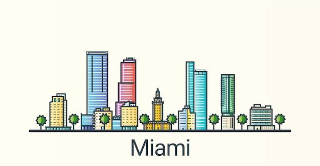 フラットラインのトレンディなスタイルのマイアミ市のバナー。すべての建物が分離され、カスタマイズ可能です。線画。
