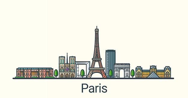 Баннер города парижа в модном стиле плоской линии. все здания разделены и настраиваются. штриховая графика.