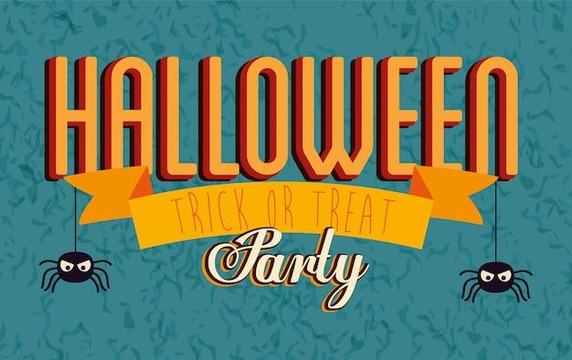 Баннер партии хэллоуин с пауками висит