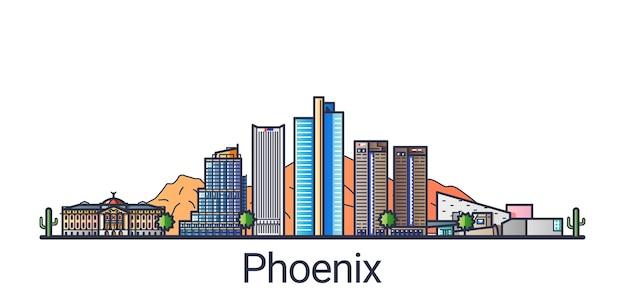 Баннер города феникс в модном стиле плоской линии. штриховая графика города феникс. все здания разделены и настраиваются.