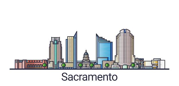 플랫 라인 유행 스타일에 새크라멘토시의 배너. 새크라멘토 시티 라인 아트. 모든 건물은 분리되고 사용자 정의 할 수 있습니다.
