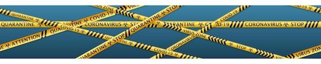 원활한 수평 반복이 있는 코로나바이러스 경고 라벨과 생물학적 위험 기호가 있는 안전 테이프 배너. 연한 파란색 배경에 부드러운 그림자가 있는 검정색과 노란색 색상
