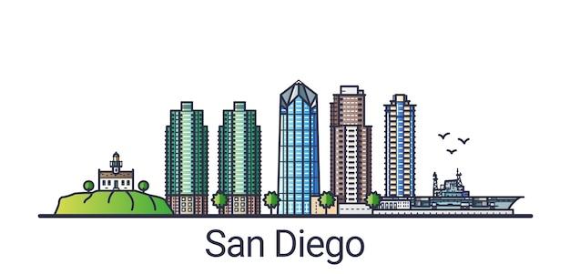 フラットラインのトレンディなスタイルのサンディエゴ市のバナー。サンディエゴ市の線画。すべての建物が分離され、カスタマイズ可能です。