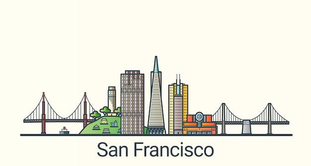 플랫 라인 유행 스타일에 샌프란시스코시의 배너. 샌프란시스코 시티 라인 아트. 모든 건물은 분리되고 사용자 정의 할 수 있습니다.