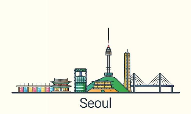 플랫 라인 유행 스타일의 서울 배너. 모든 건물은 분리되고 사용자 정의 할 수 있습니다. 라인 아트.