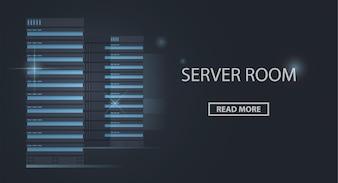 Banner of server racks, server room, data center and cloud storage technology