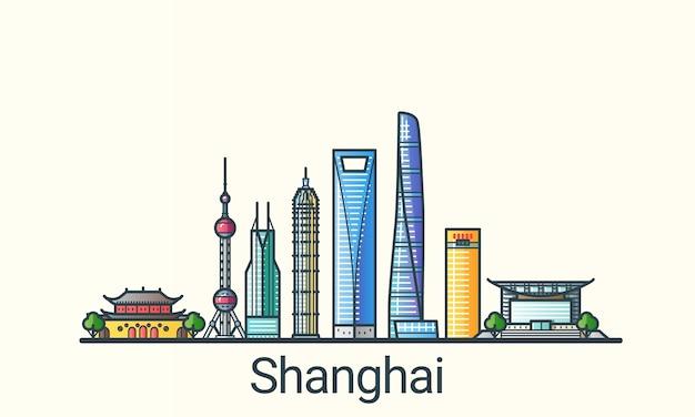 フラットラインのトレンディなスタイルの上海市のバナー。すべての建物が分離され、カスタマイズ可能です。線画。